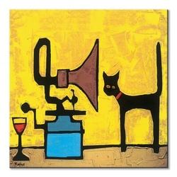 Cat and gramophone - obraz na płótnie