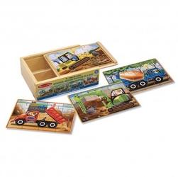 Puzzle drewniane – pojazdy budowlane 4 obrazki