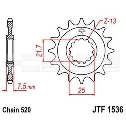 Zębatka przednia jt f1536-16, 16z, rozmiar 520 2201311 kawasaki kfx 450