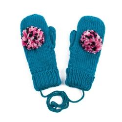 Rękawiczki z POMPONEM damskie turkusowe - TURQUOISE