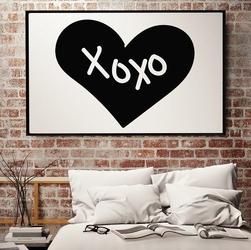 Xoxo - plakat designerski , wymiary - 50cm x 70cm, ramka - biała