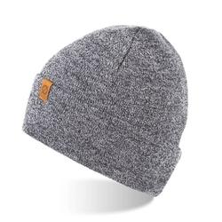 Zimowa ciepła czapka zawijana brodrene cz6 jasnoszara mulina