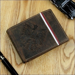 Portfel skórzany męski patriotyczny n992b-h brązowy - brąz