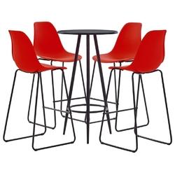 Vidaxl 5-częściowy zestaw mebli barowych, plastik, czerwony