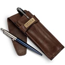 Skórzane etui na długopisy, pióro solier sa12 brązowe - jasny brąz