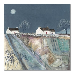 A quilted meadow by moonlight - obraz na płótnie