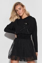 Czarna sukienka z łączonych tkanin