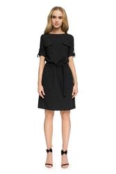 Krótka sukienka na co dzień z paskiem czarna s029