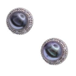 Tahuru kolczyki srebrne czarne perły naturalne