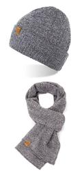 Modny zestaw męski szalik czapka brødrene jasnoszary