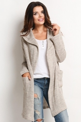 Beżowy Długi Sweter z Kapturem z Wolnymi Połami
