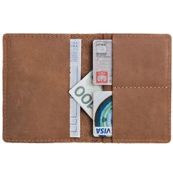 Skórzany cienki portfel slim wallet brodrene sw01 jasnobrązowy - j. brązowy