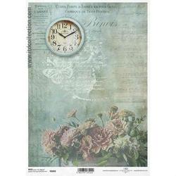 Papier ryżowy ITD A4 R1068 kwiaty zegar