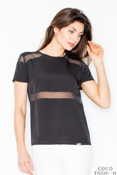 Czarna Klasyczna Bluzka z Transparentnymi Paskami