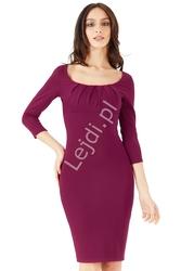 Elegancka sukienka marszczona na biuście w kolorze burgundowym 765