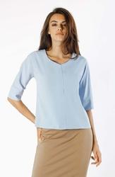 Niebieska bluzka w serek v z ozdobnym przeszyciem