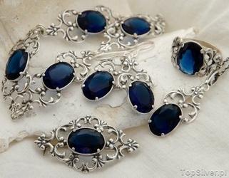 Domingo - srebrny komplet z szafirem