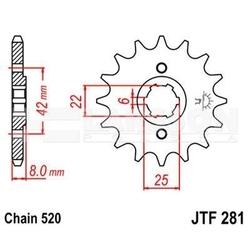 Zębatka przednia jt f281-14, 14z, rozmiar 520 2200135 honda xl 600