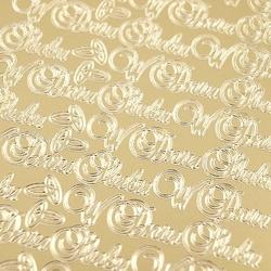 Stickers ażurowy złoty 10x23 cm - w dniu ślubu - dd48171