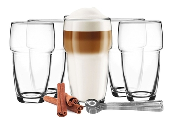 szklanki do latte, kawy, drinków - zestaw 12 el. 6 szkl. + 6 łyż.