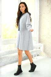 Dzianinowa trapezowa sukienka-bluza - jasnoszara