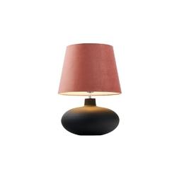 Kaspa - lampa stojąca sawa velvet - szara, abażur różowy - różowy