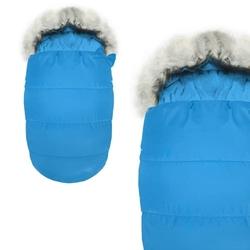 Śpiworek do wózka 5w1 sanek gondola śpiwór futerko niebieski
