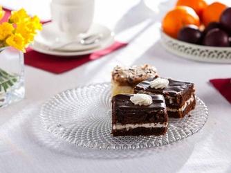 Patera na ciasto i tort  talerz szklany edwanex karo 28 cm