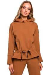 Kamelowa kobieca bluza z kapturem