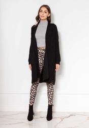 Czarny swetrowy płaszcz bez zapięcia z warkoczami
