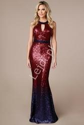 Wyrafinowana suknia cekinowa ombre czerowno granatowe, by stephanie pratt