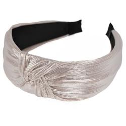 Opaska do włosów supeł węzeł pudrowa metaliczna - pudrowa