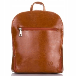 Klasyczny stylowy skórzany plecak damski paolo peruzzi koniakowy