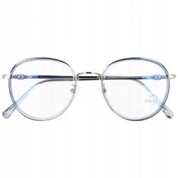 Okulary lenonki filtr światła niebieskiego blue light do komputera zerówki 2548-3 srebrno-błękitne