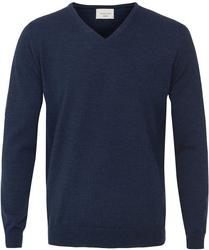 Sweter  pulower v-neck z wełny z merynosów w kolorze jeansu xxl