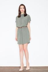 Oliwkowa sukienka szmizjerka z krótkim rękawem