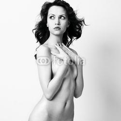 Obraz na płótnie canvas trzyczęściowy tryptyk naga elegancka kobieta