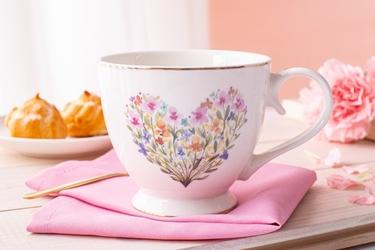 Duży kubek na stópce  filiżanka jumbo porcelanowa na prezent altom design romantic 350 ml, dekoracja a