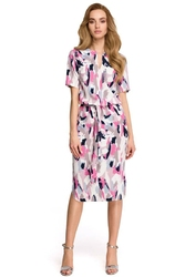 Prosta sukienka za kolano z paskiem w delikatny deseń - wzór 1