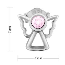 Srebrne kolczyki aniołki z różową cyrkonią pr. 925