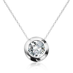 Staviori naszyjnik z białego złota pr.585. 1 diament, szlif brylantowy, masa 0,15 ct.