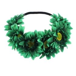 Wianek opaska na gumce kwiaty gerbery zielony