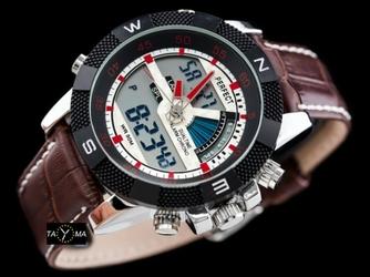 LED zegarek brąz meski z podświetleniem PERFECT A857 zp195d