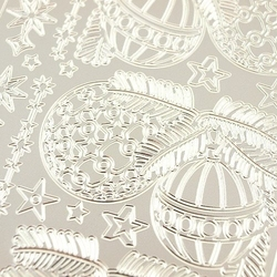 Naklejki ażurowe świąteczne srebrne 10x23cm - bombka - 1875