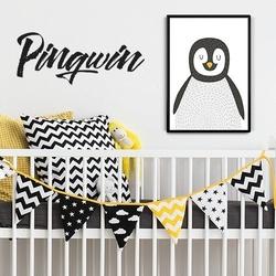 Pan pingwin - plakat designerski , wymiary - 40cm x 50cm, kolor ramki - biały