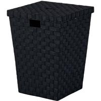 Kosz na pranie z pokrywą, czarna plecionka alvaro kela ke-23070