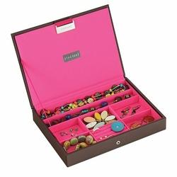 Pudełko na biżuterię z pokrywką classic Stackers czekoladowo-różowe