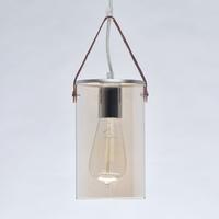 Lampa wisząca, szklany kosz na skórzanym paski tetro demarkt megapolis 673014801