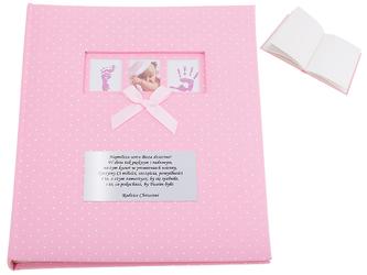 Szyty Album Duży Różowy prezent na chrzest DEDYKACJA