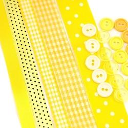 Zestaw wstążek i guzików - żółty - żół